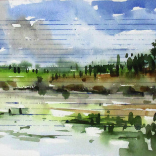 Marshy Land 1 by Asim Paul, Impressionism, Impressionism Painting, Watercolor on Paper, Green color