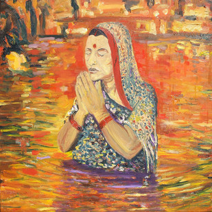 Chhath: In Prayer for Sun by Animesh Roy, Impressionism, Impressionism , Oil on Linen, Brown color
