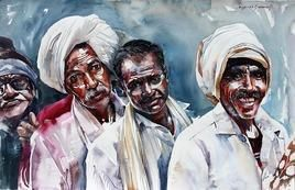 QSeries1 by Rajkumar Sthabathy, Realism, Realism Painting, Watercolor on Paper, Gray color