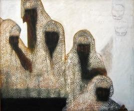 The Journey by Sudip Chatterjee, Conceptual, Conceptual Painting, Mixed Media on Canvas, Beige color