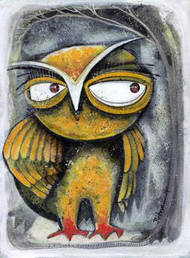Owl X by Ratna Bose, Decorative, Decorative Painting, Acrylic on Board, Gray color
