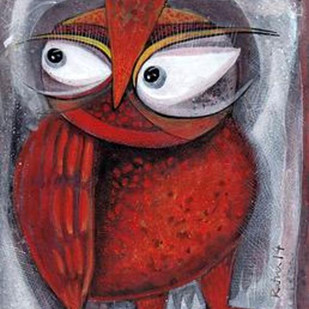 Owl XI by Ratna Bose, Decorative, Decorative Painting, Acrylic on Board, Brown color