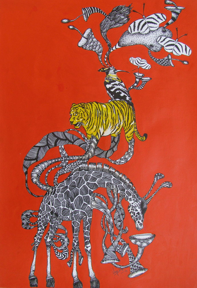 Time Travel 3 by Umed Rawat, Conceptual, Conceptual Painting, Acrylic on Paper, Red color