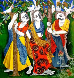 Glee 01 by Jayshree P Malimath, Traditional, Traditional Painting, Acrylic on Canvas, Green color