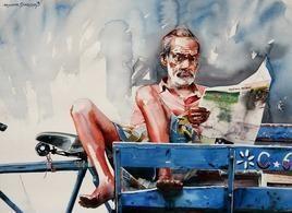 RickshawSeries1 by Rajkumar Sthabathy, Realism, Realism Painting, Watercolor on Paper, Gray color
