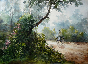 BushesbytheRoad by Ranabir Saha, Painting, Watercolor on Paper, Green color