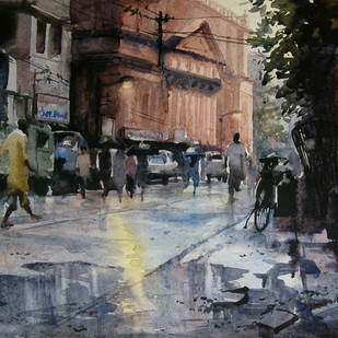 Monsoon Kolkata by Ranabir Saha, Impressionism Painting, Watercolor on Paper, Gray color