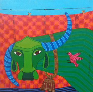 Buffalo 04 by Thota Laxminarayana, , , Green color