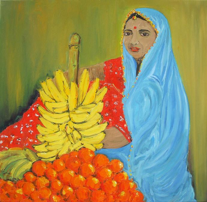 Fruit Seller Digital Print by Animesh Roy,Impressionism, Impressionism