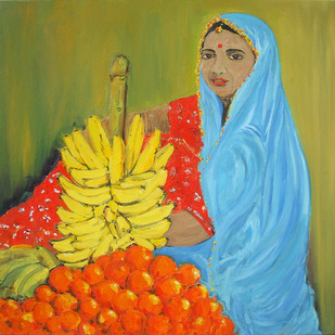 Fruit Seller by Animesh Roy, Impressionism, Impressionism Painting, Oil on Linen, Green color
