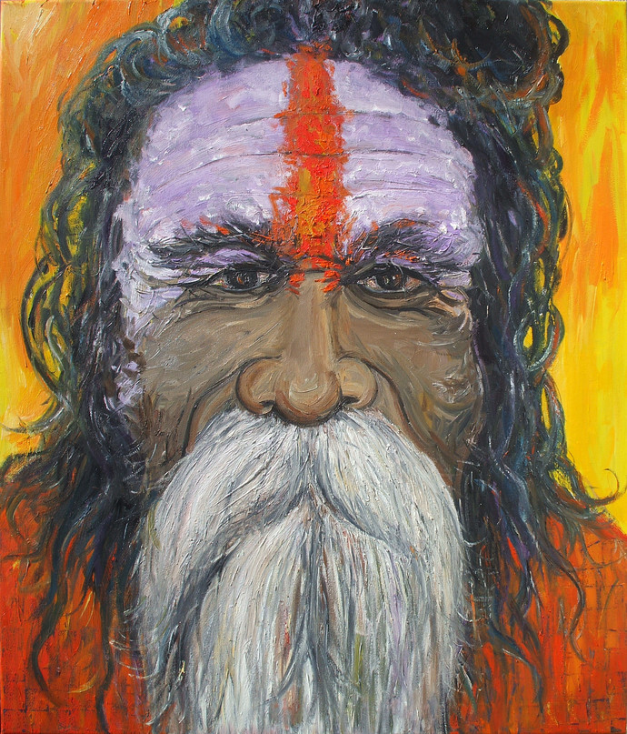 Sadhu III by Animesh Roy, Realism, Realism Painting, Oil on Linen, Brown color
