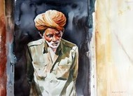 RajasthanSeries by Rajkumar Sthabathy, Realism, Realism Painting, Watercolor on Paper, Gray color