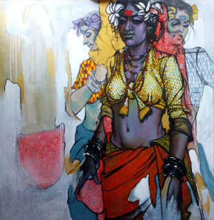 Beauty 42 by Ramchandra Kharatmal, Traditional, Traditional Painting, Mixed Media on Canvas, Brown color