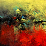 Distant view of a Village_11 - Painting by M Singh
