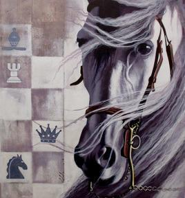 Horse in the Chess 02 by Mithu Biswas, Pop Art Painting, Acrylic on Canvas, Gray color
