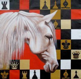 Horse in the Chess 03 by Mithu Biswas, Pop Art Painting, Acrylic on Canvas, Brown color