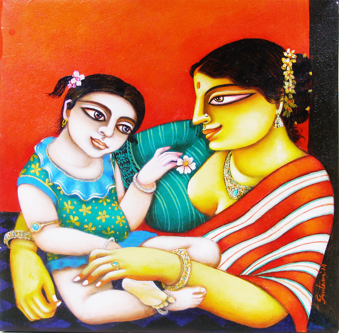 Mother and Child by Gautam Mukherjee, Traditional, Traditional Painting, Acrylic on Canvas, Brown color