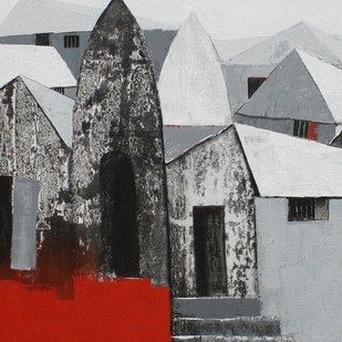Village 3 by Nagesh Ghodke, Decorative, Decorative Painting, Acrylic on Canvas, Gray color