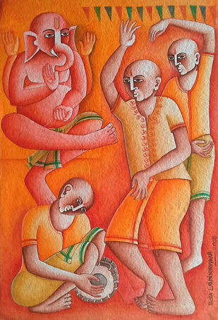 Ganapathi Bapa by Thota Laxminarayana, Traditional, Traditional Painting, Acrylic on Paper, Brown color