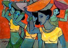 Fisher Woman 1 by Gujjarappa B G, Expressionism Painting, Acrylic on Paper, Green color
