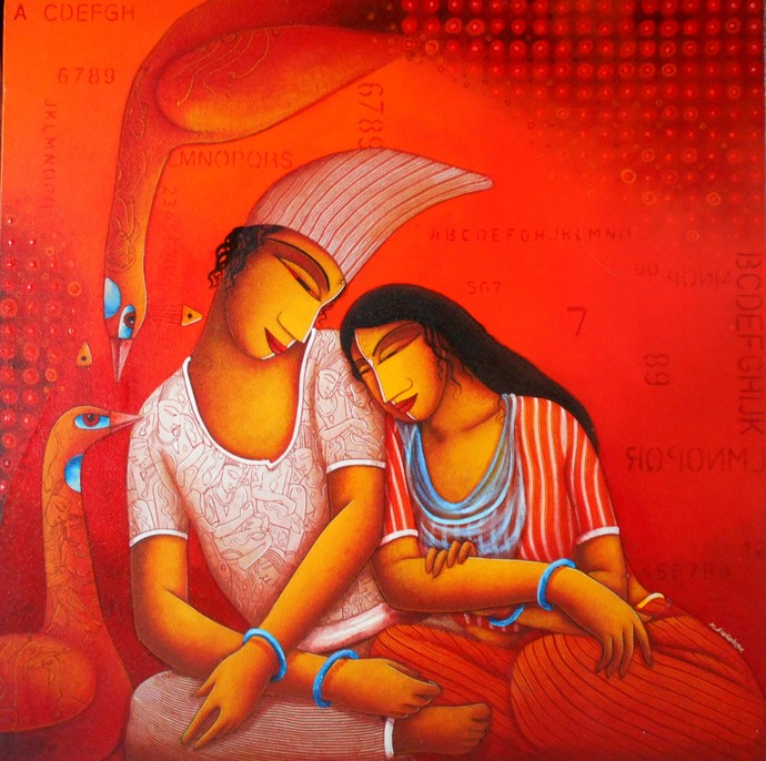 Lover12_1 by Samir Sarkar, Painting, Acrylic on Canvas, Red color