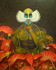 Kathakali Shadows 11 by Syed Ali Arif, Expressionism, Expressionism Painting, Acrylic on Canvas, Brown color