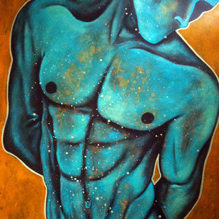 Celebration 4 by Syed Ali Arif, Expressionism, Expressionism Painting, Acrylic on Paper, Cyan color
