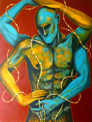 Celebration 02 by Syed Ali Arif, Expressionism, Expressionism Painting, Acrylic on Canvas, Green color
