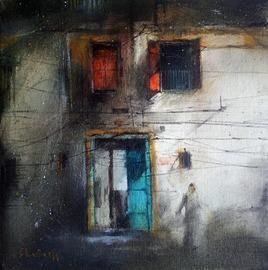 Door_1 by Shailesh Meshram, Painting, Acrylic on Canvas, Gray color