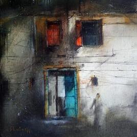 Door_1 by Shailesh Meshram, Painting, Acrylic on Canvas, Gray color