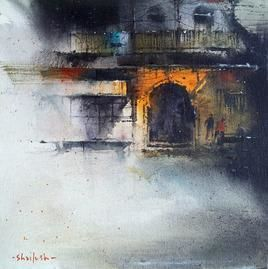 Temple_1 by Shailesh Meshram, Painting, Acrylic on Canvas, Gray color