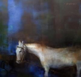 WhiteHorse_1 by Shailesh Meshram, Painting, Acrylic on Canvas, Gray color