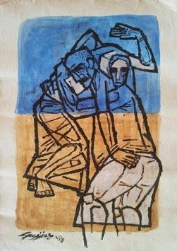 Kidnap 1 by Gujjarappa B G, Illustration, Illustration Painting, Acrylic on Paper, Brown color