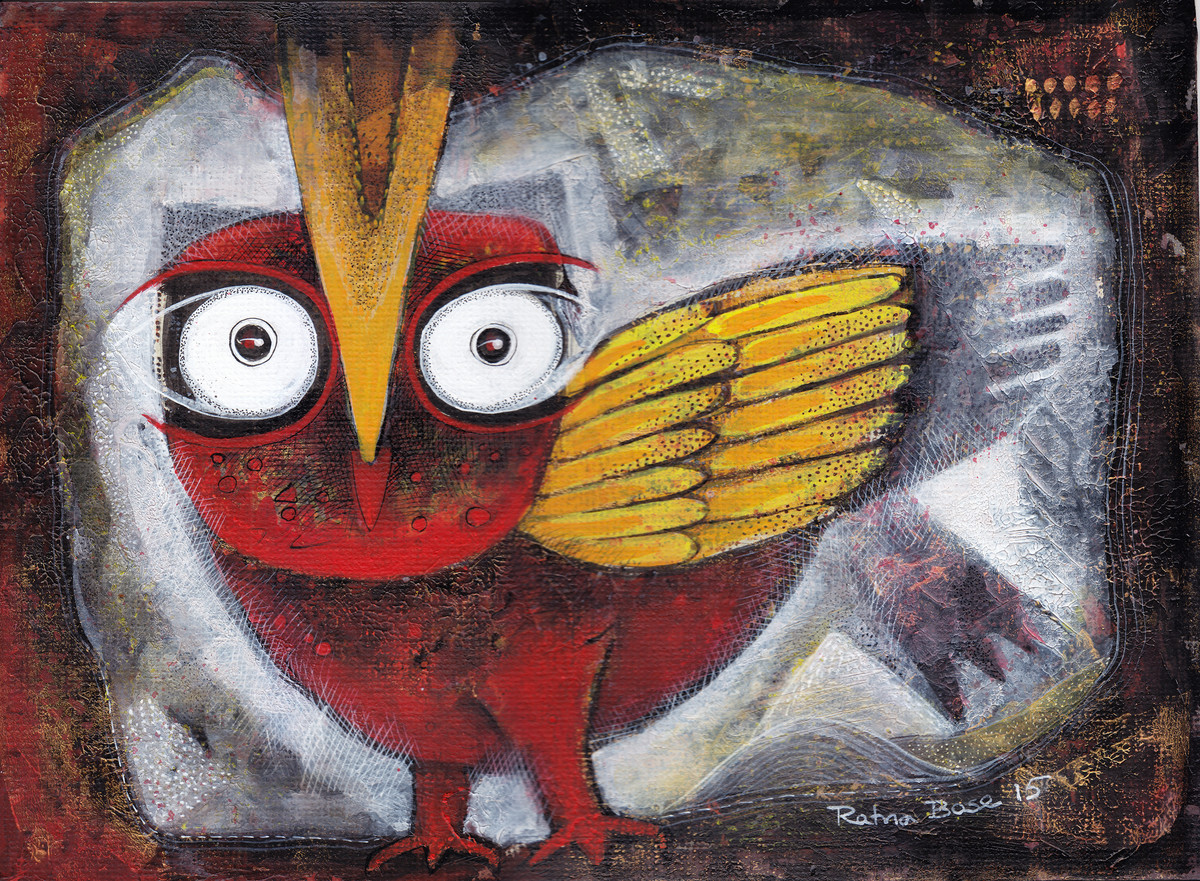 Owl XV by Ratna Bose, Decorative, Decorative Painting, Acrylic on Board, Brown color