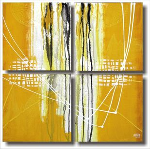 Untitled_4 by Shirish Deshpande, Abstract, Abstract Painting, Acrylic on Canvas, Beige color