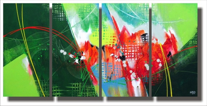 Untitled 4 by Shirish Deshpande, Abstract, Abstract Painting, Acrylic on Canvas, Green color