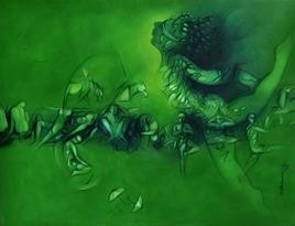 Untitled 76 by Ram Partap Verma, Fantasy, Fantasy , Oil on Canvas, Green color