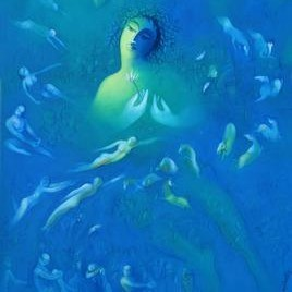 Untitled 79 by Ram Partap Verma, Fantasy, Fantasy , Oil on Canvas, Blue color