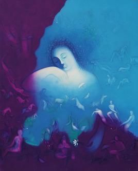 Untitled 80 by Ram Partap Verma, Fantasy, Fantasy , Oil on Canvas, Blue color