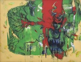 Paused 4 by Naresh Das, Expressionism Painting, Acrylic on Canvas, Green color