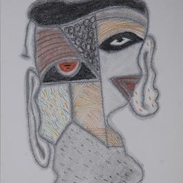 Beyond Mask 21 by Yogeeta Yadav, Illustration, Illustration Drawing, Graphite on Paper, Gray color