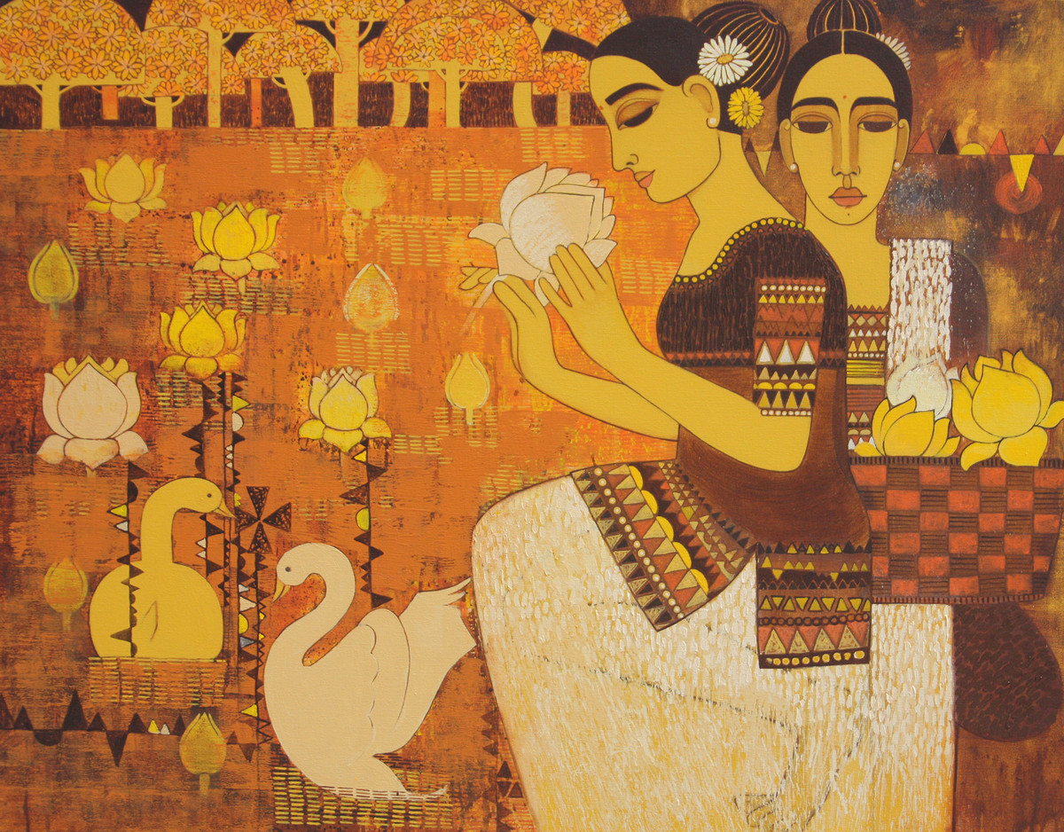 Lady with Lotus II by Mamata Shingade, Decorative Painting, Acrylic on Canvas, Brown color