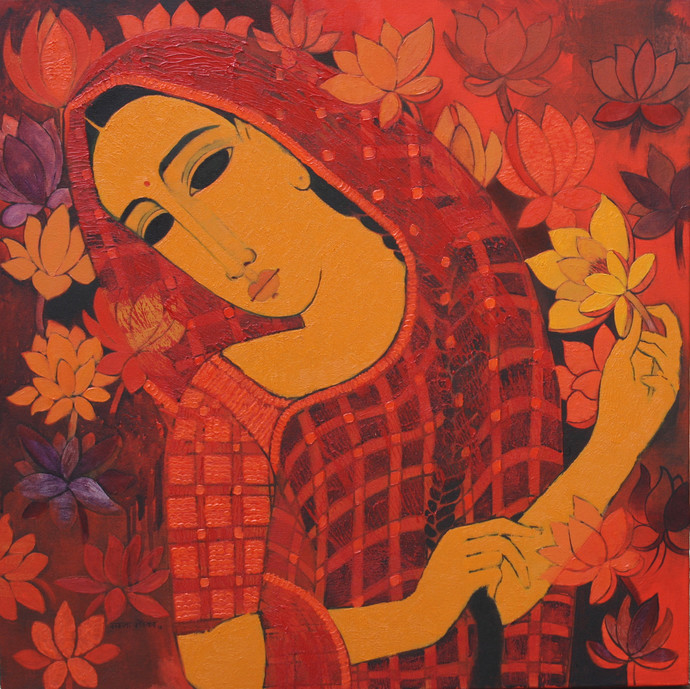 Lady with Lotus I by Mamata Shingade, Decorative Painting, Oil on Canvas, Brown color