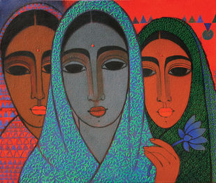Three Girls by Mamata Shingade, Decorative Painting, Acrylic on Canvas, Brown color