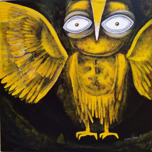 Owl XXI by Ratna Bose, Conceptual, Conceptual Painting, Acrylic on Canvas, Brown color