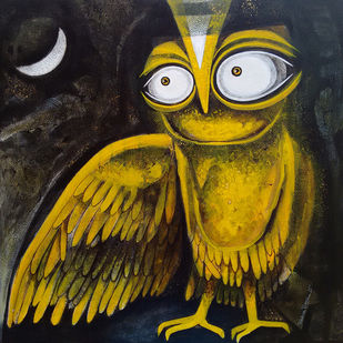 OWL XX by Ratna Bose, Conceptual, Conceptual Painting, Acrylic on Canvas, Green color