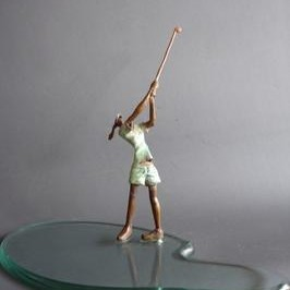 LadyGolfer by Shanta Samant, Expressionism Sculpture | 3D, Bronze, Gray color