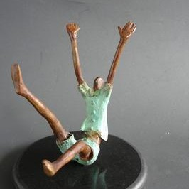 FallenIV by Shanta Samant, Expressionism Sculpture | 3D, Bronze, Gray color