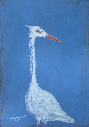 Solitary III by Rathindranath Chowdhury, Decorative, Decorative Painting, Watercolor on Board, Blue color