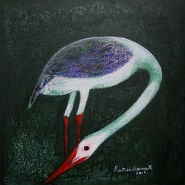 Finder by Rathindranath Chowdhury, Decorative, Decorative Painting, Acrylic on Canvas, Gray color
